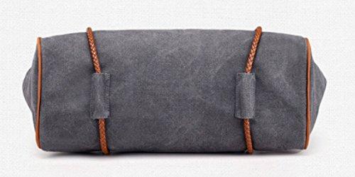 PDFGO Tote Damen Beutel Casual Messenger Bag Solid Canvas Schulter Große Rucksack Tote Bag Hand Tasche Gray