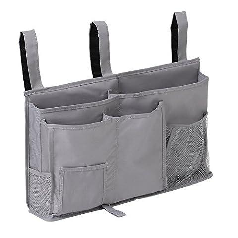 8 Pocket Hanging Organizer Bedside Storage Tasche für Bunk und Krankenhaus Betten Grau (Bunk Rails)