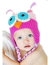 """LadyMYP©Handgemachte Strickmütze, Babymütze, Kindermütze, Hüte, 100% Wolle, Mütze """"Uhu"""" - Rosa / Pink"""