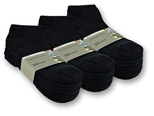 10 bis 100 Paar Sneaker Socken Baumwolle Damen & Herren Schwarz & Weiß - sockenkauf24 (43-46, 30 Paar | Schwarz)