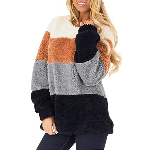 S-3XL ODRD Sweatshirt Damen Hoodie -Beiläufige Lange Hülsen Farben Block Pullover Sweatshirt Flockige Vlies Oberseiten der Frauen - Herren Sweater Langarm Pullover Kapuzenpullover