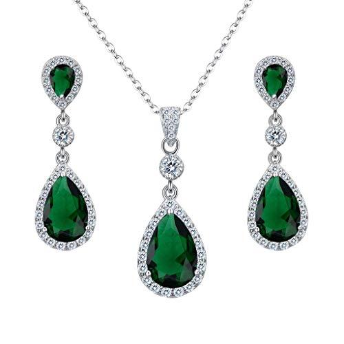 Clearine Damen 925 Sterling Silber Hochzeit Braut Cubic Zirconia Unendlichkeit Tropfen Anhänger Halskette Dangle Ohrringe Schmuck Set Smaragd-farbe