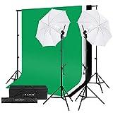CRAPHY Fotostudio Set, Studioschirm Set und Hintergrund Set, Fotoschirm Set mit 2x Fotolampe(125W), Hintergrundsysteme mit 3x Hintergrund(Grün/Weiß/Schwarz) für Greenscreen, Portrait und Videoaufnahme