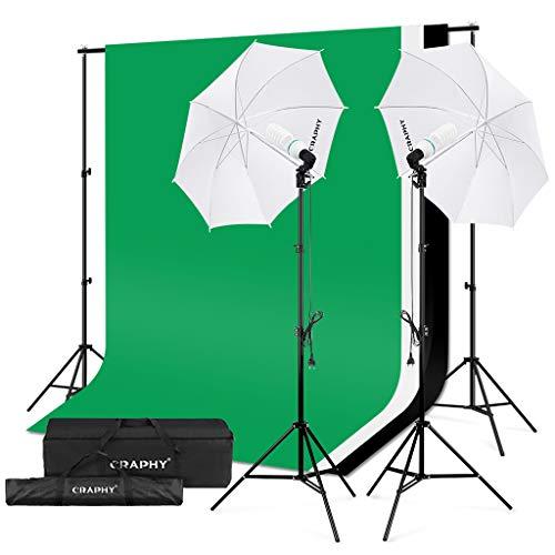 CRAPHY Fotostudio Set, Studioschirm Set und Hintergrund Set, Fotoschirm Set mit 2x Fotolampe(125W), Hintergrundsysteme mit 3x Hintergrund(Grün/Weiß/Schwarz) für Greenscreen, Portrait und Videoaufnahme (Fotografie Ausrüstung)
