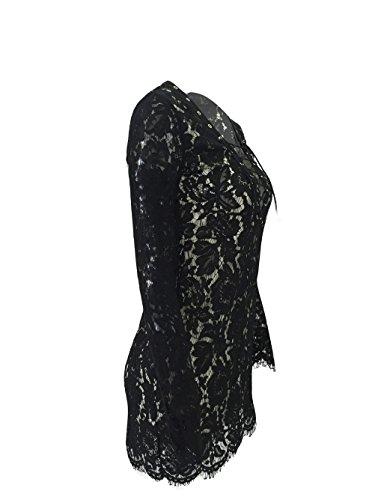 Femmes Sexy col V à manches longues Bandage Cross Nightclub Package Hip Mini-robe Noir