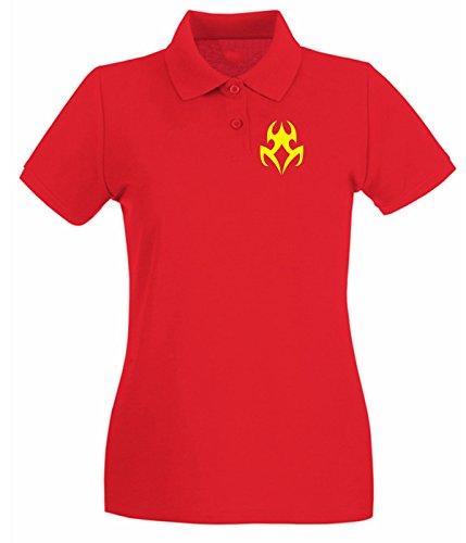 Cotton Island - Polo pour femme FUN0449 2278 tribal sticker design 10 52392 Rouge