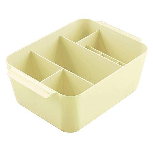 InterDesign Clarity organizador maquillaje con asas | Caja almacenaje con 8 compartimentos para maquillaje y accesorios | Ideal para accesorios de baño | Plástico amarillo limón