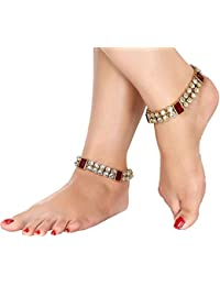 I Jewels Traditional Gold Plated Kundan Anklets Payal for Girls & Women A016R