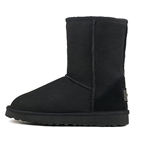 ShenDuo Damen Lammfell Stiefel Halb Schlupfstiefel Winterschuhe Klassisch Boots DV5825 Schwarz