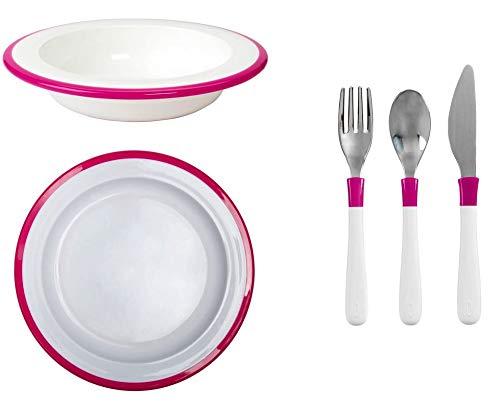 Set Angebot: OXO-Unterteller für große Kinder + OXO-Teller für große Kinder + OXO-Besteck für große Kinder, alle in rosa