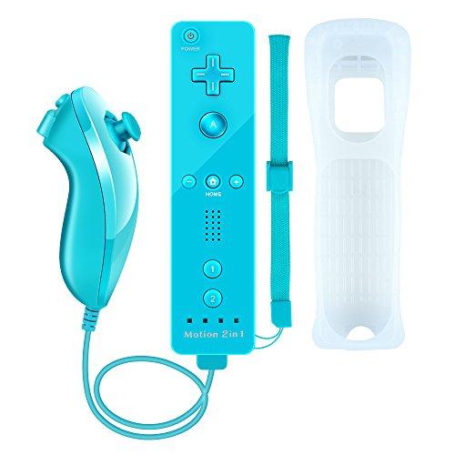 Mandos Motion Plus, Prous XW15 Nintendo Wii y Nunchuck con vibración integrada. Mando de juego con Bluetooth, funda de silicona y correa de muñeca para Wii y Wii U