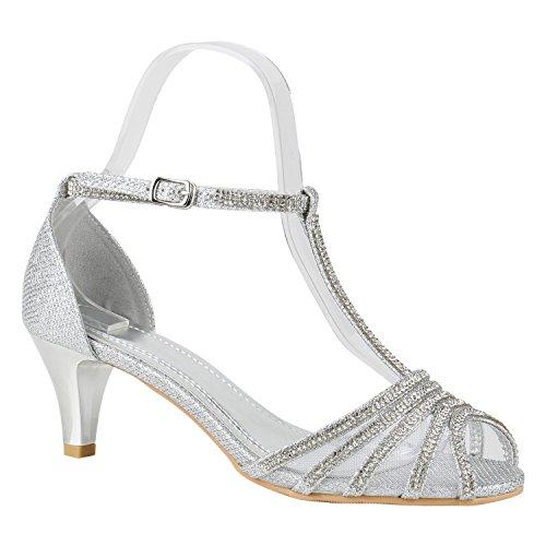 Damen Lack Sandaletten T-Strap Metallic Riemchensandaletten Schuhe 148743 Silber Strass Avelar 38 | Flandell®