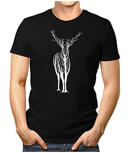 PRILANO Herren Fun T-Shirt - DEER-TREE - Small bis 5XL - NEU Schwarz