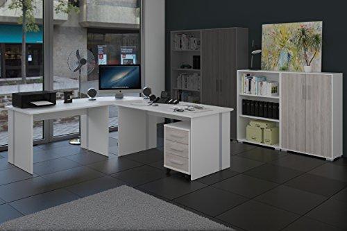 Arbeitszimmer 6-teiliges Büromöbelset Weiß mit Eiche Sorrento Fronten
