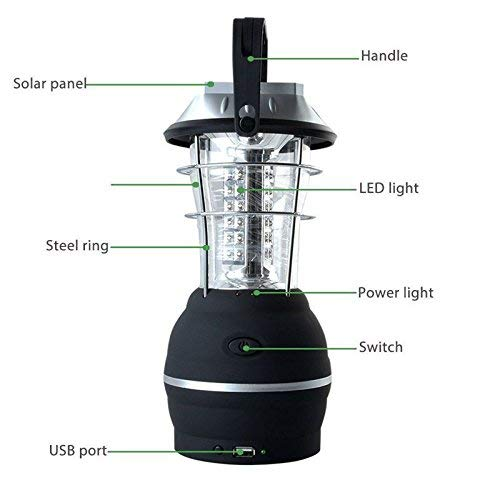 Guru Kripa Works Outdoor 36 LEDs Solar Light Rechargeable Tent Lamp Lantern Hand Crank Dynamo