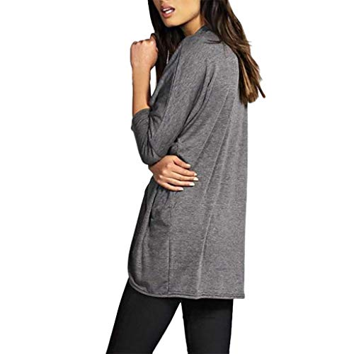 Deep lovly Damen Top Damen Herbst Volltonfarbe O Neck Langarm Falten Split Lässige Bluse Tops Patchwork Fashion Shirt Solide Kapuzenpullover Täglich Einfache Weiche Bequeme Blusen Hoodie Sweatshirts (Scoop Deep Top Neck)