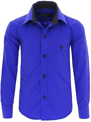 A7vDa Kinder Party Hemd Freizeit Hemd bügelleicht Lange Arm mit 10 Farben Gr.86Bis158 (86/92, Blau)