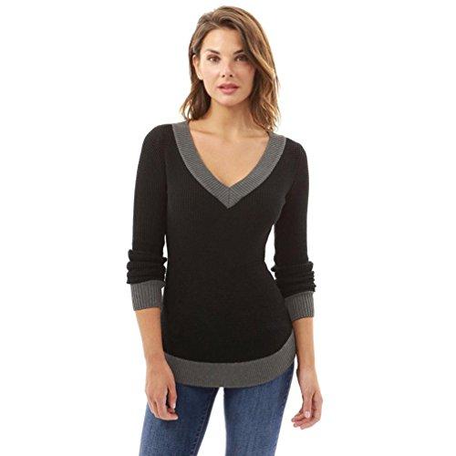 Homebaby felpe donna scollo a v elegante maglione maglietta maniche lunghe donna sottile striscia manica lunga felpa pullover top camicetta casual ragazze moda top (s, nero)