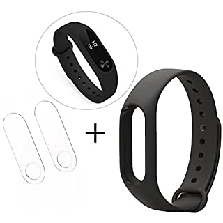 ANGGO Original Xiaomi Mi Band 2 Ersatzarmband, Silikon Ersatz Armband Bracelet Handgelenk Band Mehrfarbiges Ersatzband, Wasserdicht (No Activity Tracker) (Schwarz)