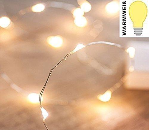 10er Set LED Lichterketten Draht innen | batterie betriebene Micro Lichterketten mit je 10 warmweißen LED | wunderschöne strahlende Deko Beleuchtung | Weihnachtsbeleuchtung Bilderrahmen wasserfest