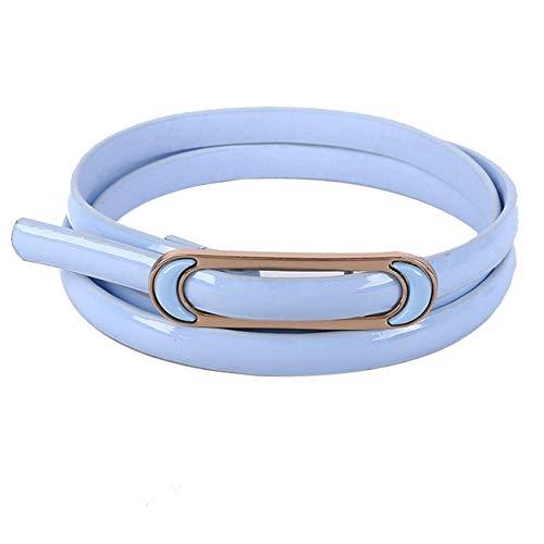 PmseK Gürtel Damen Herren PU Leather Women NEW Skinny Waist Belt For Dress Solid Narrow Waistband Accessories Hot Sale Dropshipping B0320 Sky Blue 102cm