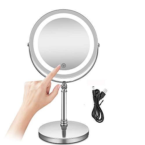 AMZTOLIFE Miroir Mural Nickel Finish Double Side Clarté Haute définition Miroir cosmétique pour Salle de Bains Chambre