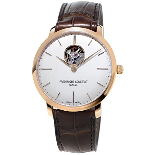 Frederique Constant Men's Slimline 40mm Leather Band Rose Gold Plated Case Automatic Watch FC-312V4S4