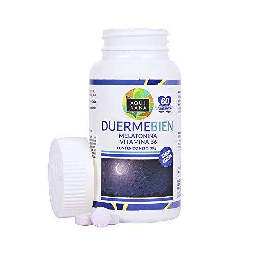 Melatonina masticable para la promoción de un sueño saludable - Comprimidos masticables de melatonina con vitamina B6 para ayudar al sistema inmune - 60 comprimidos masticables con sabor a cereza