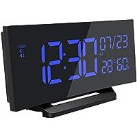 Mpow Reloj despertador digital, Reloj humedad temperatura Medidor, Reloj de pantalla curva, alarma dual, 3 tonos, Snooze, reloj multifuncional con calendario, fecha, semana para hogar, oficina
