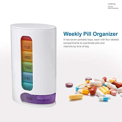 Kompakter beweglicher Weekly Pill Organizer Mini-Pillen Storage Box Medizin Container 7 Tage stapelbare Pillen Vitamine Organizer -