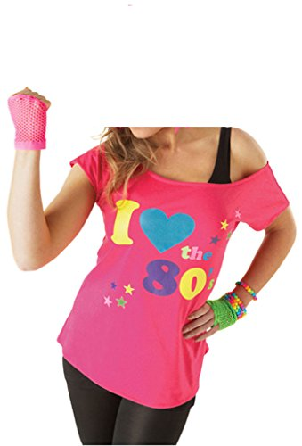 Deluxe I Love The 80's Damen T-Shirt Pop Star Pink Top-Kostüm Sexy Retro (Jahre Kleiderschrank 80er)