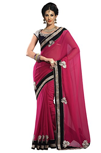 Chirag Sarees Synthetic Saree (2443-B_Rani)