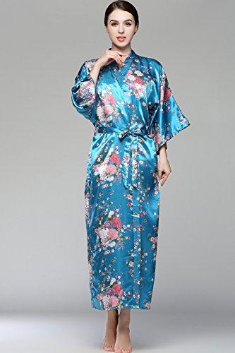 BABEYOND Damen Morgenmantel Maxi Lang Seide Satin Kimono Kleid Blütenkirsche Muster Kimono Bademantel Damen Lange Robe Blumen Schlafmantel Girl Pajama Party 135 cm Lang (See Blau) - 5