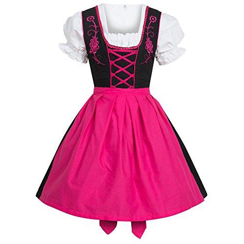 Gaudi-Leatherts Dirndl 3tlg. Trachtenkleid Kleid, Bluse, Schürze Schwarz/Pink Größe 34
