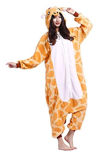 ene Cartoon Giraffe Kapuzen Strampelanzug Cosplay Anime Pyjamas Nachtwäsche L ()