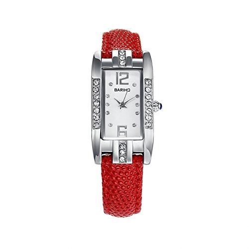 iWatch Damen Armbanduhr Uhr Analog Quarz Rechteckig Elegant Charm 30M Wasserdicht Leder Band, Farbe: Rot