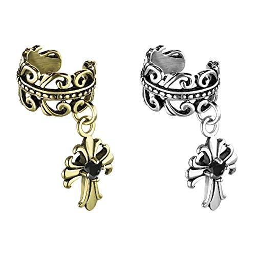 -klemme KELTISCHES HERZ FLEUR DE LIS Kreuz Anhänger SET Ohringe Ohr-ringe Ohr-clip Fake-Piercing Messing Silber Gold ()