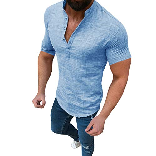 Gestreifte Button-up-shirt (KPILP Männer Solide Lange Ärmel V-Ausschnitt Button Up Leinenhemden Lässig Basic Business Fit Bluse(A1-blau,4XL))