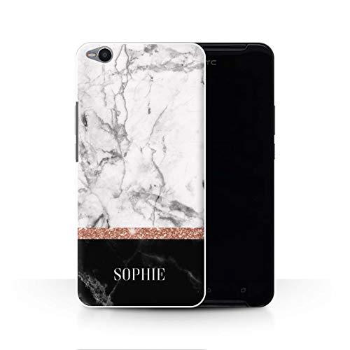 Personalisiert Individuell Roségold Glitter Marmor Hülle für HTC One X9 / Zwei Ton Marmor Stempel Design/Initiale/Name/Text Schutzhülle/Case/Etui