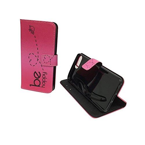 König-Shop - Handyhülle Schutz Tasche Case Cover Wallet Kunstleder 360 Grad Standfunktion, Farbe:Onyx Schwarz, Größe:Apple iPhone 8 Plus Be Happy Pink