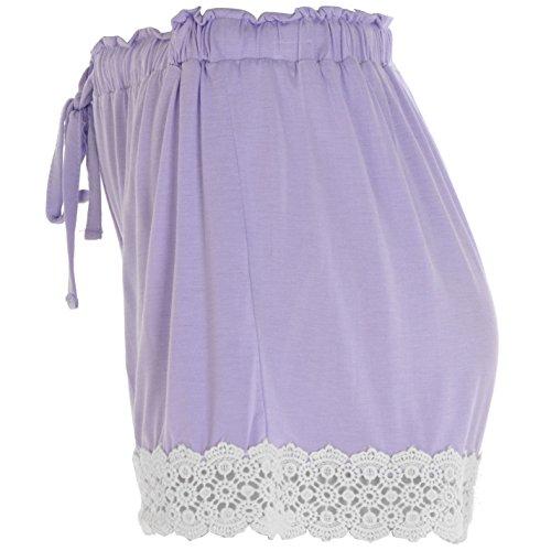 Rock and Rags Damen Schlafanzughose Leicht Pyjama Shorts Haekelborte Kordelzug Flieder
