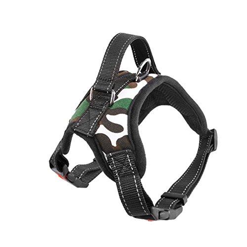 Reflektierendes Hundegeschirr Leine IDEAPRO einstellbare No-Pull Leine Halsband Hundegeschirr mit Griff für mittlere kleine Hunde laufen, Training (M)