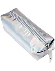 Ouneed® Swag Trousse Zippe Pochette Ecolier de Maquillage 16 * 11 * 6CM (Argente)