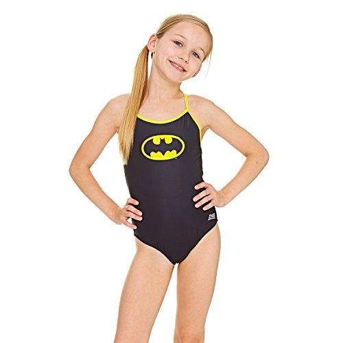 Zoggs Batman Sprintback costume da bagno, ragazza, 505718330, Black/Yellow, 10-11 Anni