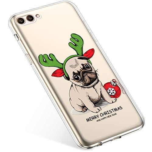 Uposao Handyhülle Huawei Honor View 10 Schutzhülle Transparent Silikon Schutzhülle Handytasche Crystal Clear Durchsichtige Hülle TPU Cover Weich TPU Bumper Case,Weihnachten Haustier
