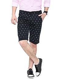 Showoff Men's Black Slim Fit Printed Casual Chino Shorts - B01LHO5MSC