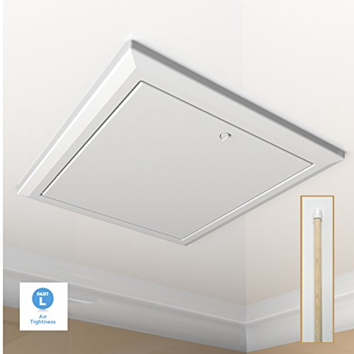 White Loft Trap Door with Opening Pole / Hinged Drop Down Insulated Hatch Access Door Attic by SmartHome (Kunststoff-drop-decke)