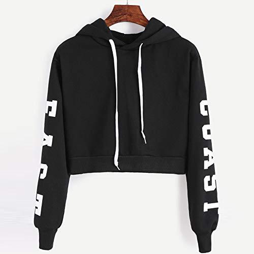 ZYUEER Damen Pullover Winter Frauen Buchstaben Langarm Hoodie Sweatshirt Pullover Tops Bluse (XS, schwarz)