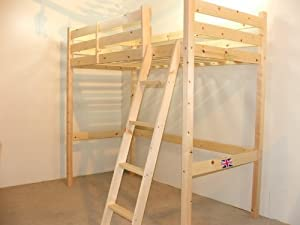 SHORT Length Loft Bunk Bed - 85cm by 175cm wooden high sleeper bunkbed - Ladder can go left or right - INCLUDES 15cm sprung mattress