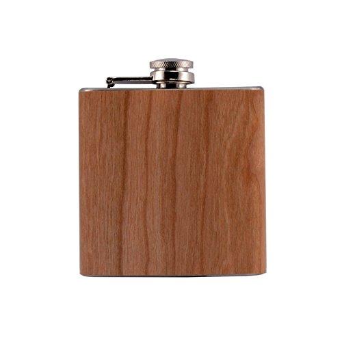 Flachmann 180ml aus Edelstahl mit Holz Ummantelung